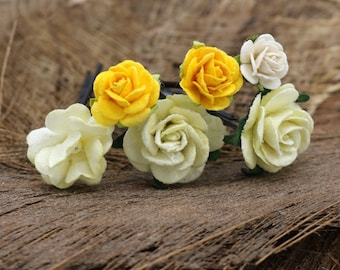 Yellow Mulberry Paper Flower Hair Pins , Bridal Hair Pins, Hair Bobby Pins,U pins,Prom,Bridal Hair Accessories (FL212)