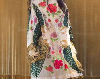 Burnout Velvet Kimono with Fringe, Bridal Robe, Piano Shawl