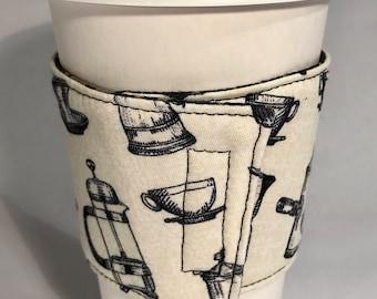 Cup cozy, Cup sleeve, Coffee cozy, Teacup cozy, Hot cup sleeve, Hot cup jacket, Coffee collar, Coffee sleeve, Fabric cozy, Washable cup cozy