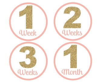 Baby Monthly Milestone Stickers, Pink And Gold Stickers, Girls Monthly Baby Stickers, Monthly Stickers, Printable Stickers