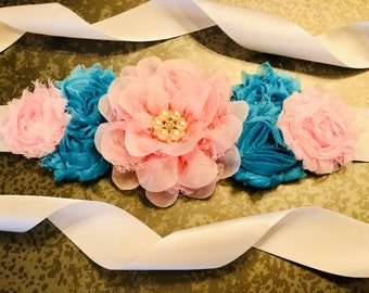Gender Reveal Sash, Gender Reveal Party, Pink and Blue Sash, flower sash, Maternity Sash, belly sash, twinkle twinkle gender reveal