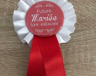Rosette Cockade badge / bachelorette party-bride to be red and white