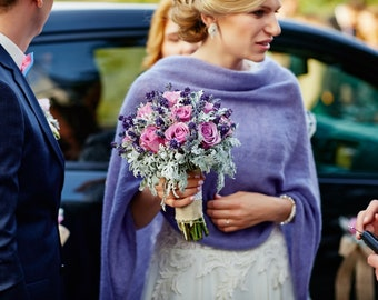 Lavender poncho, wedding poncho, knit poncho, lavender scarf, knit scarf, lavender shawl, womens poncho, bridal scarf, bridal cape, poncho