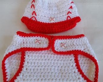 crochet baseball diaper cover, baseball hat and diaper cover set, newborn hat and diaper cover,baseball cap,newborn diaper cover and hat set