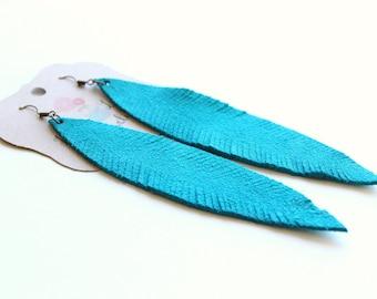 Carolina Panthers earrings, Large Turquoise feather earrings, turquoise suede earrings, Feather earrings, turquoise earrings