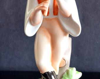 Vintage Zsolnay Figurine Man Playing Flute Artist Signed Hungary