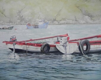 Leenan Boats.Irish Art, Irish Watercolour, Made in Ireland. Co Donegal.