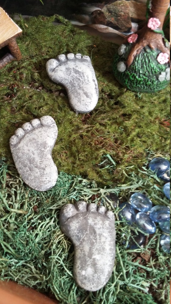 Fairy Garden Stepping Stones Fairy garden miniature set of three footprint stepping stones fairy garden miniature set of three footprint stepping stones resin for your fairy garden fairy garden accessories gnome footprints workwithnaturefo