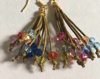 Beaded cord tassel earrings