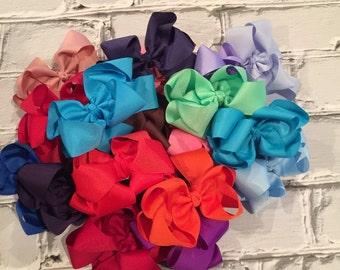 """Boutique Baby Girl Hair Bow Clip attached to alligator clip. Pick 1 colors. 5"""" Hairbows Hair Clips"""