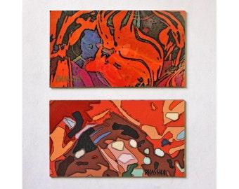 Safari and Java Magnet Set warm colors organic shapes colorful abstract art