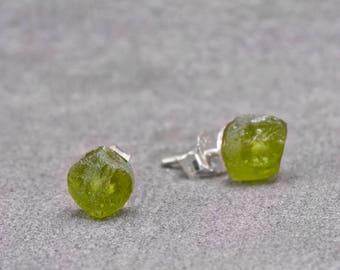 Peridot Green Rough Cut Raw Earring Studs // August Birthstone