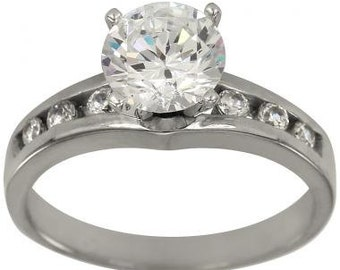 1 Carat Diamond Engagement Ring In 14k White Gold Channel Set Diamond Ring