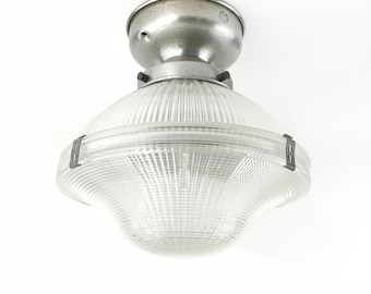 Vintage 1920s Industrial 2-Piece Aisle Industrial HOLOPHANE Ceiling Semi-Flush Mount Fixture - 4 AVAILABLE