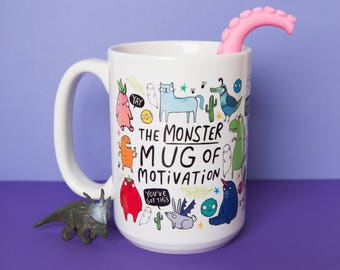 The Monster Mug of Motivation - New Job - Starting Uni - Confidence Boost - giant mug - large mug - Katie Abey