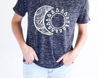 Moon Shirt - FLOWY SHIRT - Sun Shirt - Graphic Tee Women - Astronomy Shirt - Gift For Her - Yoga Shirt - Women's Graphic Tee - Flowy Shirt