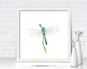 BLUE DRAGONFLY Painting, Dragonfly Print, Dragonfly Greeting Cards, Dragonfly Watercolor Painting, Dragonfly Wall Decor, Dragonfly Wall Art