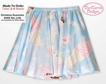 Ice Cream Skirt Kawaii Fairy Kei Skirt Pastel Skater Skirt Star Pastel Size XS Through 3XL *Made 2 Order*