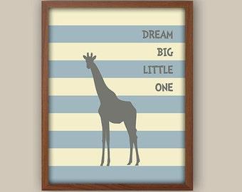 Baby Boys Nursery Art - Giraffe Nursery Decor - Nursery Quote - Playroom Wall Art - Nursery Art - Available In Any Color