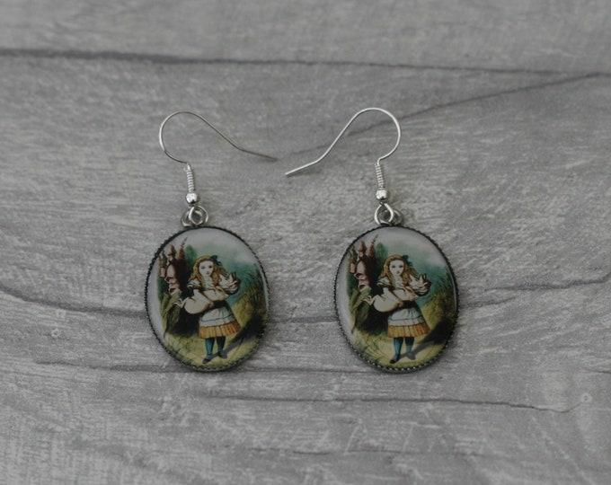 Alice and Pig Earrings, Alice in Wonderland Illustration, Dangle Earrings, Alice In Wonderland