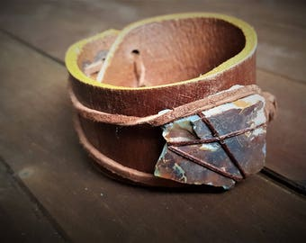 Leather Cuff with Raw Stone