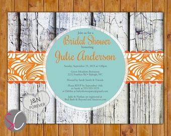 Robins Egg Blue Rustic Country Orange Bridal Shower Invitation Fall Autumn Wedding Wood Design Invite Printable  5x7 Digital JPG File (154)