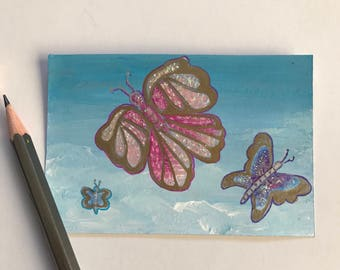 Butterflies original ACEO/ Artists trading card. Mixed media. Free UK delivery.