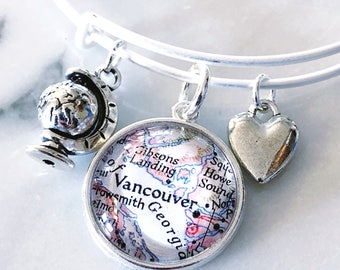 Vancouver Map Charm Bracelet - Vancouver Bracelet - Vancouver Charm Bracelet - Travel Bracelet - Wanderlust Bracelet
