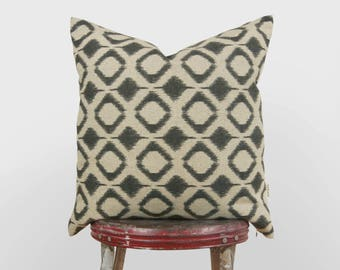 Ikat geometric decorative throw pillow case, 12x20 18x18 or 20x20 cushion cover | Gray and raw flax beige diamond tribal print pillows