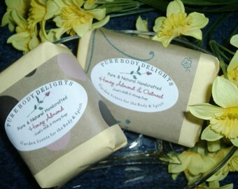 Creamy Goat's Milk Oatmeal Honey and Almond Moistuizing Soap Bar--Pure and Natural--Oh so good for you--BIG 5 oz. Bar