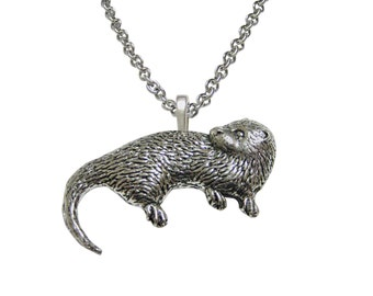 Otter necklace etsy otter pendant necklace aloadofball Image collections