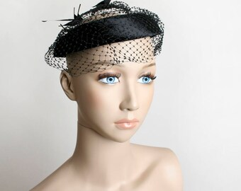 Vintage 1950s Veil Hat - Halo Style Black Velvet Netted Crown with Black Bird Feather - Formal Evening Date Night