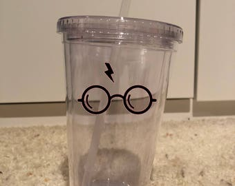 Harry Potter glasses inspired wine glass and tumbler