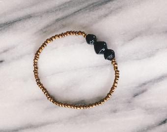 Black Three Small Bead Bracelet
