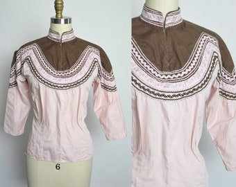 Vintage 1950s Blouse 50s Patio Top Cotton Shirt Squaw Pink and Brown