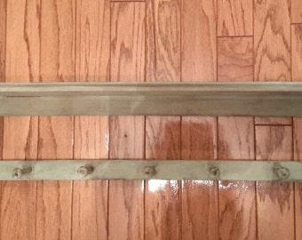 Green Shabby Shelf, Long Green Wooden Shelf, Rustic Shelf, Upcycled Sage Green Shelf, Distressed Wood Shelf, Farmhouse, Home Decor