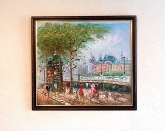 Vintage framed original oil  painting La Conciergerie River Seine  Paris France French artist T Bardot Paris River Seine scene landscape (X)