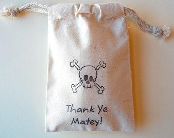 Pirate Muslin Bags / Set of 35/ pirate Treasure Party Favor Bags