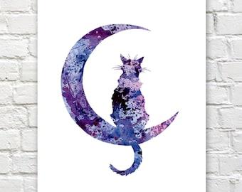 Black Cat Moon Art Print - Abstract Watercolor Painting - Wall Decor