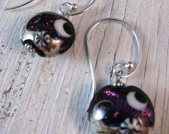 PURPLE MOON Earrings: Shimmering Lampwork, Murano Glass, Handcrafted Jewelry, Glass Drop Earrings, Boho Chic, Handmade Jewelry