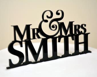 Custom Made Mr & Mrs Wedding Cake Topper Personalised UK last name modern simple unique engagement acrylic wooden glitter gay lesbian bold