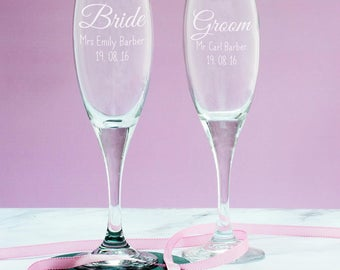 Personalised Champagne Flute - Bride or Groom Champagne Glass - Wedding Gifts - Gifts For Couples - Champagne Gift - LC119
