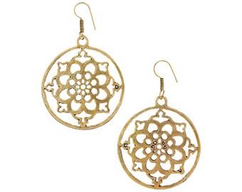 Mandala earring-Large Dangle earring-Gold Jewelry-Bohemian-Tribal Brass earrings,Ethnic minimalist,jewelry burning man coachella