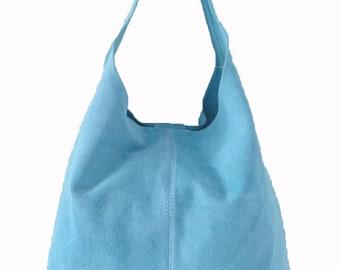Italian Suede Leather Large Slouch Hobo Shoulder Handbag Tote Bag - SKY BLUE