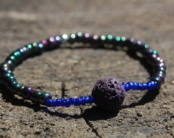 Galaxy Essential Oils Bracelet/ Beaded Bracelet/ Lava Beaded Bracelet/ Stress Relieving Bracelet