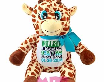 Personalized giraffe etsy giraffe personalized stuffed animal keepsake birth stat or name personalized giraffe stuffed animal negle Gallery