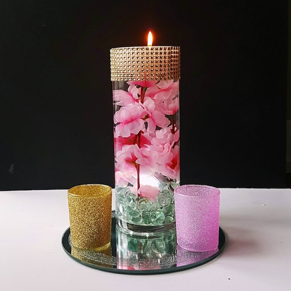 Candle Flower Centerpieces Wedding: Wedding Centerpiece Floating Candle Centerpiece Pink Decor