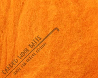 Orange Colour Carded Wool Batts For Needle Felting 5g 10g 20g | 100% Sheep Wool | Needle Felting Wool | Perfect For Pumpkins & Halloween!