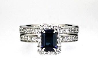 engagement ring set, Blue sapphire engagement ring, diamond halo, halo engagement, diamond wedding,  rose gold, blue engagement, eternity
