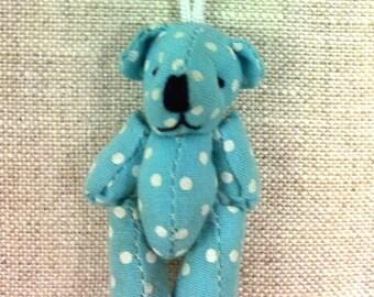 Mini blue bear with white dots T14
